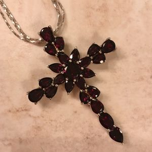 Jewelry - Sterling 11.65 ct tw Garnet Cross Pendant with 18""